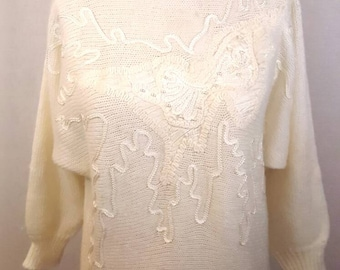 Vintage Adolfo Collectibles, 1980s Cream colored beaded and stitched design, Size Medium