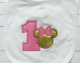 Mouse First Birthday Baby Bib-Pink and Gold Birthday Bib-Mouse Baby Bib-Smashcake Bib-Birthday Bib-Miss Mouse