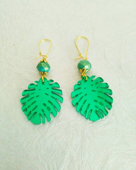 JUNGLE QUEEN-Green mirror laser cut acrylic kidney wire Earrings with iridescent blue green gold shimmer crystal accent.