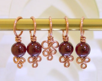 Copper and Garnet Stitch Markers - Set of 5 - Excellent Hand Craftsmanship for Your Knitting - January Birthstone - Gifts for Knitters