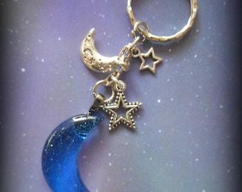 Luna Nox Fleuret / Lunafreya Nox Fleuret Final Fantasy XV, FF - Crescent Moon and Star Neon Blue Crescent Moon Key Chain Necklace Cell Phone