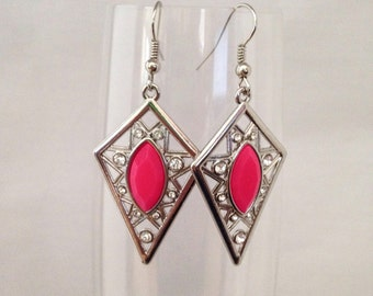 Pink dangle earrings, pink earrings, pink drop earrings, diamond earrings, earrings pink