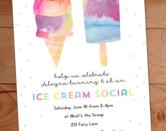 Ice Cream Party Invitation, Ice Cream Birthday Party Invite, Watercolor Invitation, Kids Ice Cream Social, Ice Cream Cone, Popsicle