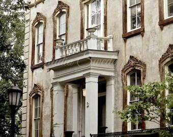"Window Art, Savannah Architectural Photo, Noble Hardee Mansion, Monterrey Square, Window Photograph, Beige Art Print- ""Southern Elegance"""