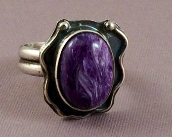 Charolite ring.  Size 6.  Purple gemstone ring.  US size 6.  Boho artisan handmade ring. Devine Designs Jewelry