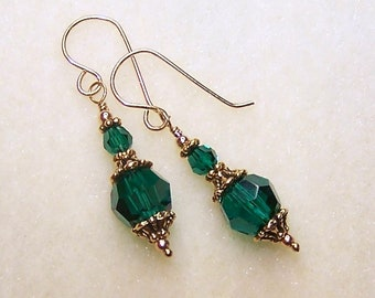 Dark Green Earrings Emerald Green Swarovski Elements May Birthstone Crystal Jewelry Gifts for Her
