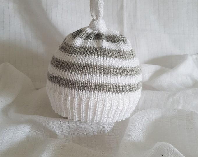 grey and white stripe baby beanie cotton gift hat