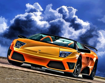 Auto Art - Supercar Print - Lamborghini Murciélago Roadster - Supercar Print - Sports Car Print -  8x10 Giclee Print - AW69