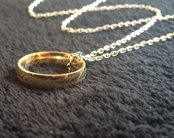 80p UK P&P handmade 24inch chain with elvish ring attatched ring the gold ring rings titanium ring necklace pendant on 24inch silver chain
