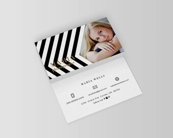 Maria double sided photography business card - Instant download