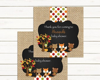 Fall Woodland Baby Shower Favor Tags,  Woodland Favor Tags,   223 Printable
