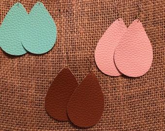 Faux Leather Earrings Medium
