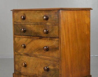 Antique Victorian Figured Mahogany Chest Commode