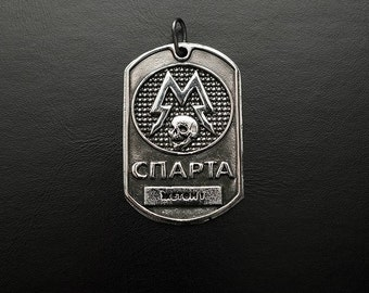 Dog tag inspired by Metro 2033 game made from white bronze