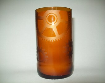 Hand-Cut Hand-Etched Gears Glass Tumbler