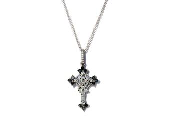 18K Baguette Diamond Cross Pendant/Necklace**Made To Order**