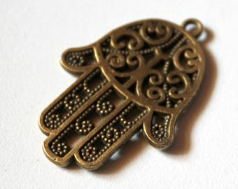 x 1 charm - hand of Hamsa Fatima - 34 x 23 mm - Metal color bronze