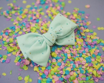 Mint Confetti Eleanor Headband or Clip