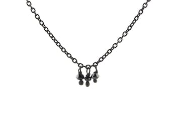 Faceted Black Diamond Bead Fringe Necklace in Oxidized Sterling Silver with Three Diamonds