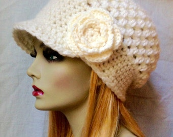Crochet Slouchy Beret, Brim, French Beret, Womens Hat, Off White Cream, Pick Color, Chunky, Warm, Teens, Birthday Gifts for Her JE505BTF2