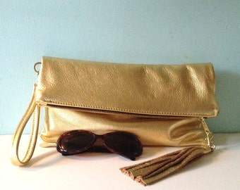 Gold leather clutch purse, gold fold over clutch, evening bag