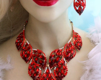 Red V-Shape Rhinestone Crystal Choker Necklace Earring Pageant Prom Drag