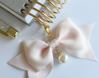 Satin Bow Planner CHARM with Matching Satin Ribbon