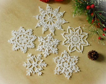 6 Crochet snowflakes Set of 6 snowflakes Winter decor Handmade snowflakes Christmas decorations S3 E S7 S16 S2 D