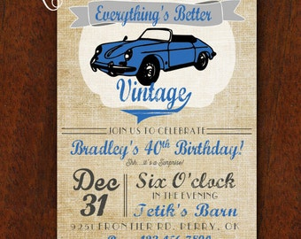 Vintage Car Birthday Invitation Everything's Better Vintage 5x7 Invitation Muscle Car 40th 50th 60th 70th Birthday