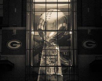 Lombardi Trophy, Lambeau Field, Green Bay Packers Decor, Large Wall Art Print, Man Cave, Packers Print, Packers Decor, Packers Art