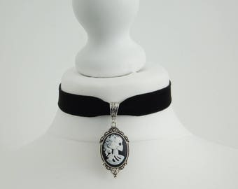 Gothic Skull Bride Lady Cameo Day of Dead Black Velvet Choker Necklace