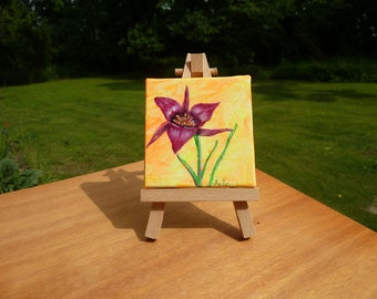 Flower painting with easel, Small painting, Miniature Art, Original painting, Mini canvas, Botanical art,
