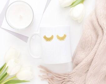 Lashes Coffee Mug, Gold Foil Mug, Gold Mug, Ceramic Gold Mug, Coffee Mug, White Ceramaic Mug, Gold Foil, Real Gold Foil