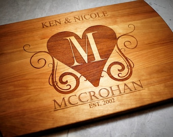 Personalized Wedding Gift - Custom Wooden Cutting Board - Fiance Gift - Monogrammed - Wife Gift - Kitchen Decor - Cooking Gifts - Girlfriend