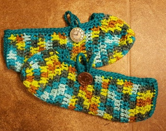 Crochet Slippers, women's size 9-10