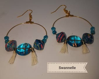 dangle earrings, Golden, creole glass streaked with Gold Nugget Czech glass beads tassels