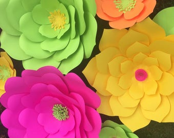 Set of 5 large paper flowers handmade, you choose colors, backdrop flowers, flower wall, cake table flowers, photo booth backdrop, wedding