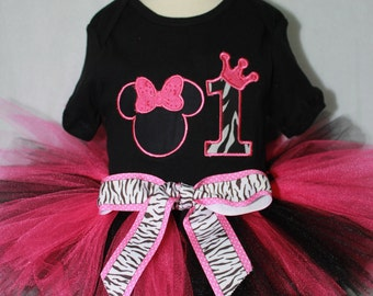 Disney, Minnie Mouse, first birthday, birthday, 1st birthday, pink, black, bodysuit, baby tutu, birthday hat, baby bibs, baby girl clothes