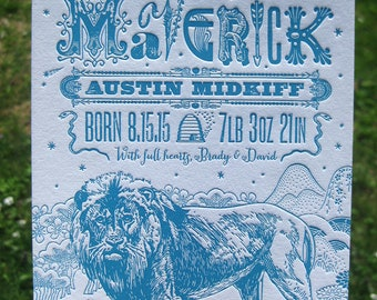 Lion in the Mountains Letterpress Birth Announcement