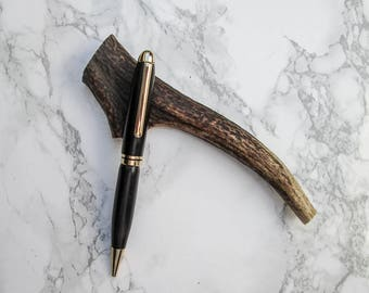 Hand-turned exotic wood pen made from Ebony, with gold-plated fittings.