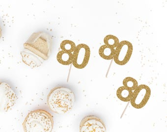 80 Cupcake Toppers - 80th Birthday Party Decor - Numbered Birthday Party Topper - Custom Glitter Cake Topper - Birthday Cake Topper
