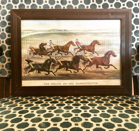 """RARE Lithograph J. Cameron Del """"The Brush On The Homestretch"""" Reprinted from Lithograph by Currier & Ives 1869"""