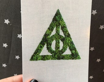 Floral Pop Deathly Hallows Hand Embroidery 4x6 Print Needlework Fan Art
