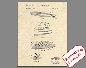 Surfing Wall Art - Surfboard Patent Prints - Surfing Art Patent Print - Surfing Artwork Patent Poster - Vintage Surfing Decorations - 398