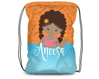 Pool Personalized Drawstring Backpack - Pool Swim Bag, Orange, Blue Water Towel Bag, Pool Backpack, You Pick Girl - Kid Personalized Gift