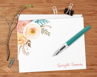 Coral and Peach Ranunculus Floral Bouquet - Set of 8 CUSTOM Personalized Flat Note Cards/ Stationery