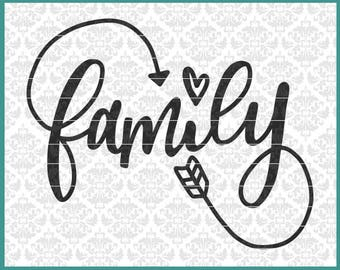 Family svg, Family Infinity Svg, Hand Lettered Svg, Wall Decal Svg, Family sign svg, Wood Sign Svg, Home Decor Svg, Pillow Svg, Wedding Svg
