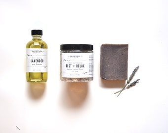 Soothing Lavender Gift Set. Mother's Day. Soap. Body Oil.  Bath Soak. Spa Gift Set. Small batch. 100% Natural
