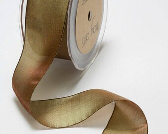 Woven Iridescent Olive/Brown Ribbon, 1 Inch Ribbon,  Iridescent Ribbon, May Arts Ribbon, Scapbooking, Hair Bows, 6 Yards
