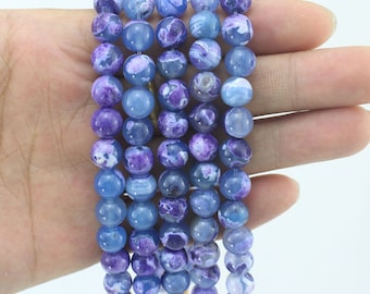 8mm Purple Agate Beads,Full Strand,Agate Beads ,Round Agate Beads,Agate Gemstone For Jewelry Making---about 48 Pieces---15inches--EB227